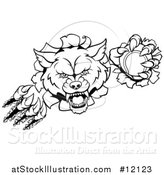 Vector Illustration of a Black and White Ferocious Wolf Slashing Through a Wall with a Tennis Ball by AtStockIllustration