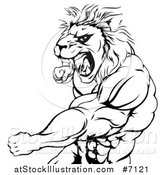 Vector Illustration of a Black and White Fierce Angry Muscular Lion Man Punching and Roaring by AtStockIllustration
