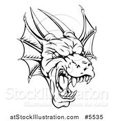 Vector Illustration of a Black and White Fierce Dragon Mascot Head by AtStockIllustration