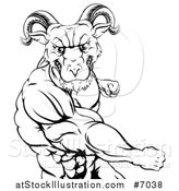 Vector Illustration of a Black and White Fierce Muscular Ram Man Punching by AtStockIllustration