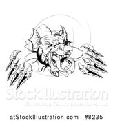 Vector Illustration of a Black and White Fierce Welsh Dragon Mascot Head Slashing Through a Wall by AtStockIllustration