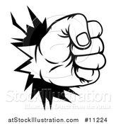 Vector Illustration of a Black and White Fist Punching a Hole Through a Wall by AtStockIllustration