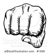 Vector Illustration of a Black and White Fist Punching by AtStockIllustration