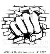 Vector Illustration of a Black and White Fist Punching Through a Brick Wall by AtStockIllustration