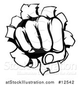 Vector Illustration of a Black and White Fisted Hand Punching a Hole Through a Wall by AtStockIllustration