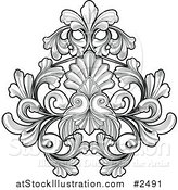 Vector Illustration of a Black and White Floral Tattoo by AtStockIllustration