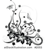 Vector Illustration of a Black and White Floral Vine Corner Design with Butterflies by AtStockIllustration