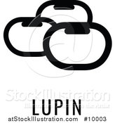 Vector Illustration of a Black and White Food Allergen Icon of Beans over Lupin Text by AtStockIllustration