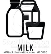 Vector Illustration of a Black and White Food Allergen Icon of Milk over Text by AtStockIllustration
