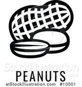 Vector Illustration of a Black and White Food Allergen Icon of Peanuts over Text by AtStockIllustration