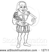 Vector Illustration of a Black and White Full Length Happy William Shakespeare Holding a Scroll and Quill by AtStockIllustration