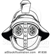 Vector Illustration of a Black and White Gladiator Helmet by AtStockIllustration