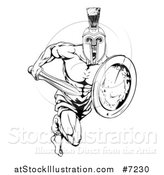 Vector Illustration of a Black and White Gladiator Man in a Helmet Sprinting with a Sword and Shield by AtStockIllustration