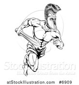 Vector Illustration of a Black and White Gladiator Man in a Helmet Sprinting with a Sword by AtStockIllustration