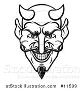 Vector Illustration of a Black and White Grinning Evil Devil Face by AtStockIllustration