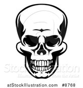 Vector Illustration of a Black and White Grinning Grim Reaper Skull by AtStockIllustration