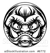 Vector Illustration of a Black and White Grinning Samurai Demon Monster Face by AtStockIllustration
