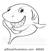 Vector Illustration of a Black and White Grinning Shark Outline by AtStockIllustration