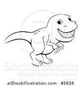 Vector Illustration of a Black and White Grinning T Rex Outline by AtStockIllustration