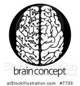 Vector Illustration of a Black and White Half Human, Half Artificial Intelligence Circuit Board Brain over Sample Text by AtStockIllustration