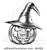 Vector Illustration of a Black and White Halloween Woodcut Jackolantern Pumpkin Wearing a Witch Hat 2 by AtStockIllustration