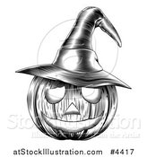 Vector Illustration of a Black and White Halloween Woodcut Jackolantern Pumpkin Wearing a Witch Hat by AtStockIllustration