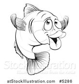 Vector Illustration of a Black and White Happy Cod Fish Gesturing to Come by AtStockIllustration