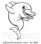 Vector Illustration of a Black and White Happy Cute Dolphin Jumping by AtStockIllustration