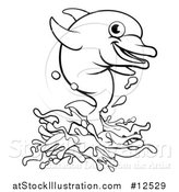 Vector Illustration of a Black and White Happy Dolphin Jumping by AtStockIllustration