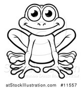 Vector Illustration of a Black and White Happy Frog by AtStockIllustration