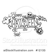 Vector Illustration of a Black and White Happy Halloween Greeting with a Ghost, Skull, Bat, Jackolantern and Spider by AtStockIllustration
