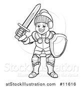 Vector Illustration of a Black and White Happy Knight in Full Armour by AtStockIllustration