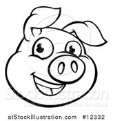 Vector Illustration of a Black and White Happy Pig Face by AtStockIllustration