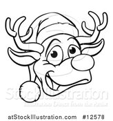 Vector Illustration of a Black and White Happy Reindeer Face Wearing a Christmas Santa Hat by AtStockIllustration
