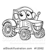 Vector Illustration of a Black and White Happy Tractor Mascot by AtStockIllustration