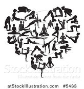 Vector Illustration of a Black and White Heart Made of Silhouetted Yoga and Pilates People by AtStockIllustration