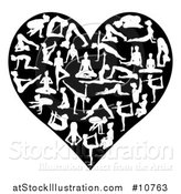 Vector Illustration of a Black and White Heart of Silhouetted Women Doing Yoga by AtStockIllustration