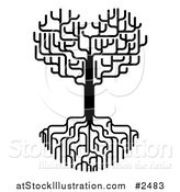 Vector Illustration of a Black and White Heart Tree with Bare Branches and Deep Roots by AtStockIllustration