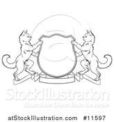 Vector Illustration of a Black and White Heraldic Coat of Arm Shield of Two Cats by AtStockIllustration