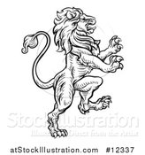 Vector Illustration of a Black and White Heraldic Rampant Lion by AtStockIllustration
