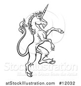 Vector Illustration of a Black and White Heraldic Rampant Unicorn in Profile by AtStockIllustration
