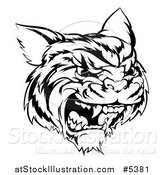 Vector Illustration of a Black and White Hissing Tiger Mascot Head by AtStockIllustration