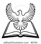 Vector Illustration of a Black and White Holy Spirit Dove over an Open Bible by AtStockIllustration