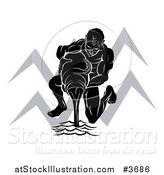 Vector Illustration of a Black and White Horoscope Zodiac Astrology Aquarius Water Bearer and Sybmol by AtStockIllustration