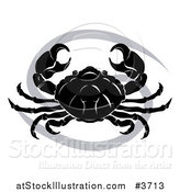 Vector Illustration of a Black and White Horoscope Zodiac Astrology Cancer Crab and Symbol by AtStockIllustration