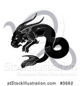 Vector Illustration of a Black and White Horoscope Zodiac Astrology Capricon Sea Goat and Sybmol by AtStockIllustration