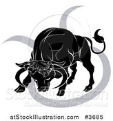 Vector Illustration of a Black and White Horoscope Zodiac Astrology Charging Taurus Bull and Sybmol by AtStockIllustration