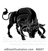Vector Illustration of a Black and White Horoscope Zodiac Astrology Charging Taurus Bull by AtStockIllustration