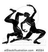 Vector Illustration of a Black and White Horoscope Zodiac Astrology Dancing Gemini Twins by AtStockIllustration