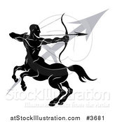 Vector Illustration of a Black and White Horoscope Zodiac Astrology Sagittarius Centaur Archer and Sybmol by AtStockIllustration